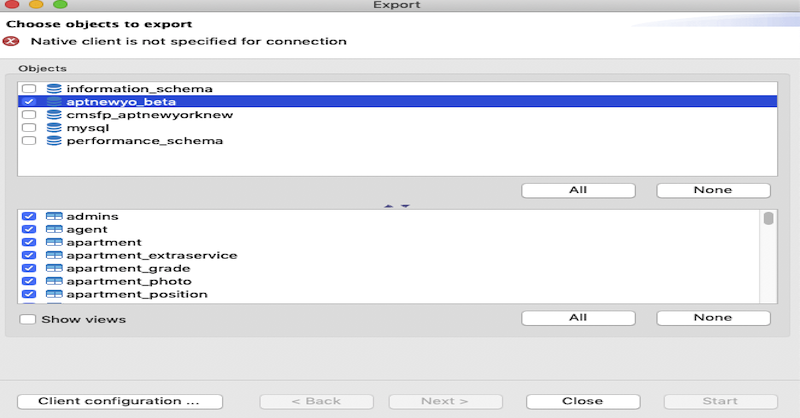 DBeaver Native client not specified for connection