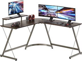 L-Shape Desk with Monitor Stand